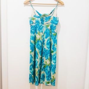 Ann Taylor Blue Green Foral Silk Summer Dress 2P